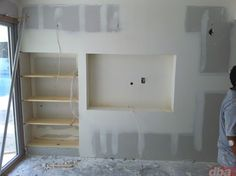 built in wall shelves