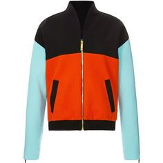 Fausto Puglisi Color-Blocked Wool Crepe Bomber Jacket (8,825 MYR) ❤ liked on Polyvore featuring outerwear, jackets, bomber style jacket, flight jacket, colorblock jackets, colorblock bomber jacket and stand up collar jacket