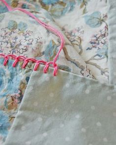 Blanket stitch on pillowcases