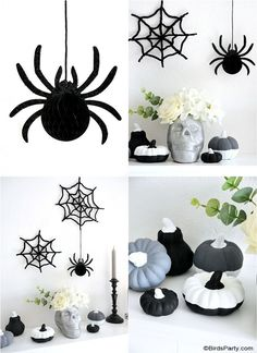Halloween Mantel DIY Modern Décor -neutral, black and white monochrome craft projects for a easy and inexpensive Halloween décor! #halloween #diy #crafts #halloweendecor #halloweenathome #halloweendecor #halloweencrafts #halloweendiy #halloweenblackandwhite #blackandwhitehalloween #modernhalloween #neutralhalloween Halloween Mantel, Modern Halloween, Fun Halloween Crafts, Festive Crafts, Halloween Decorations, Halloween Party, Easy Craft Projects, Easy Crafts, Diy Mantel