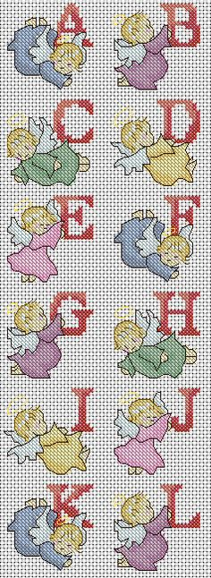 This Pin was discovered by cla Cross Stitch Angels, Cross Stitch Letters, Cross Stitch Needles, Cross Stitch Baby, Cross Stitch Charts, Cross Stitch Designs, Cross Stitching, Cross Stitch Embroidery, Embroidery Patterns