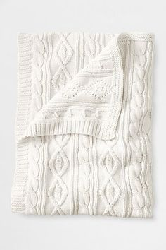 Lakeland Cotton Cable Throw from Lands' End- Bought it & Love it. Half the price of Pottery Barn and all cotton! Cable Knit Blankets, Cable Knit Throw, Cozy Blankets, Knitted Blankets, Knitted Cushions, White Throw Blanket, White Throws, Neutral Bedrooms, Trendy Home