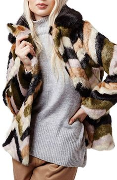 Topshop Chevron Faux Fur Coat available at #Nordstrom
