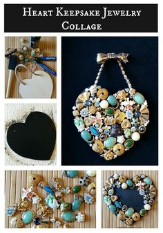 Vintage Jewelry Art Heart keepsake jewelry collage - Use grandma's old jewelry to make a keepsake collage and create a new family heirloom. Use vintage or costume jewelry to create new family heirloom pieces to display. Costume Jewelry Crafts, Vintage Jewelry Crafts, Recycled Jewelry, Vintage Costume Jewelry, Jewelry Art, Antique Jewelry, Jewelry Gifts, Fashion Jewelry, Jewelry Accessories