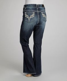 Love this Dark Wash Sequin Chelsea Bootcut Jeans - Plus by Vigoss on #zulily! #zulilyfinds