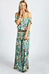 Bohemian Festival Fashion at boohoo.com from £5! Gorgeous turquoise floral print maxi dress.