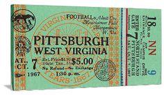 1967 Pittsburgh vs. West Virginia Football Ticket Art. College football art, vintage football art, historic football art, canvas football art. http://www.footballartusa.com/ football art printed in the U.S.A.
