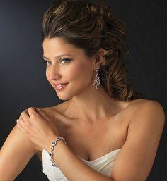 Gorgeous Sapphire Blue Chandelier Earrings and Bracelet Set - Affordable Elegance Bridal -
