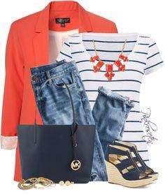 Striped top with boyfriend blazer outfit
