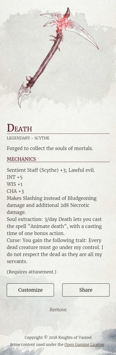 stats great ax / axe blood eating weapon chaotic evil sentient weapon DnD Note: Home hub Sure, home is where in actuality the heart is. Dnd Dragons, Dungeons And Dragons 5e, Dungeons And Dragons Homebrew, Dark Fantasy, Fantasy Rpg, Dungeon Master's Guide, Dnd Funny, Dnd 5e Homebrew, Dnd Monsters