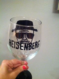Breaking Bad Heisenberg Wine Glass. DIY wine glass. Great gift idea for a fellow Breaking Bad lover.