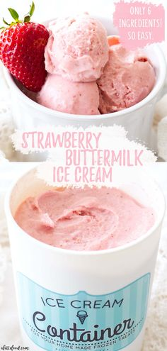 Homemade Strawberry Buttermilk Ice Cream is so rich and creamy! The fresh strawberries and honey make this ice cream irresistible and the buttermilk makes the strawberry ice cream so creamy. It's a perfect summer dessert! Best Summer Desserts, Summer Dessert Recipes, Spring Desserts, Fun Desserts, Dinner Recipes, Easter Desserts, Frozen Desserts, Dessert Ideas, Strawberry Dessert Recipes