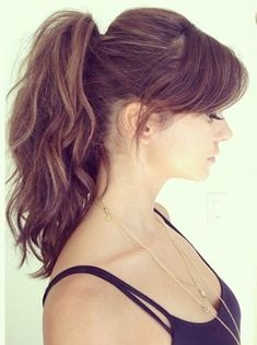 Gorgeous High Ponytail with Side Swept Bangs 2016 by Nina Dobrev