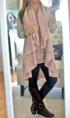 Perfect casual Fall outfit.  Sweater vest, sleeveless waterfall cardigan, mixed media top, leggings and FRYE melissa boots.  Stitch Fix style.