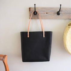 Black Oiled Leather Tote Bag with Natural Bridle Straps and