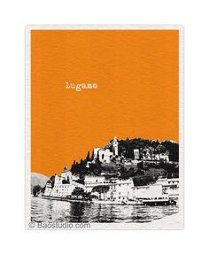 Lugano Switzerland Art Print - 8x10 World Traveler Series Lugano Skyline Poster Available in 56 Colors - CH028. $20.00, via Etsy.