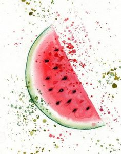 Items similar to Watermelon watercolor Print - Painting - illustration - Watermelon Wall decor - Sweet Fashion print - Watermelon Fruit Food Kitchen print on Etsy Watermelon Painting, Watermelon Art, Watermelon Carving, Watercolor Fruit, Watercolor Paper, Watercolor Paintings, Walpapers Iphone, Kitchen Prints, Happy Paintings
