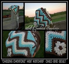 "Crochet Pattern: ""Chasing Chevrons"" Hair Kerchief / Scarf by A Crocheted Simplicity"