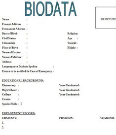 6 Simple biodata format for job application - All contracts in 1 place Resume Pdf, Sample Resume Format, Sample Resume Templates, Cv Format, Best Resume Template, Resume Format Free Download, Biodata Format Download, Marriage Biodata Format, Job Application Sample