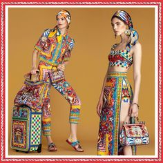 Dolce & Gabbana Collection Spring-Summer 2016: Clothes that evoke Sicily and Sicilian Carts. Always they inspired Collections of the two designers. For a lively and unique Style!