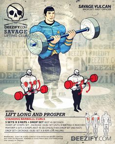 bicep exercise: barbell curls with spock Hero Workouts, Weight Training Workouts, Fit Board Workouts, Gym Workouts, Workout Fun, Beast Workout, Superhero Workout, Macho Alfa, Arm Work
