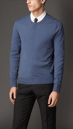 Crew Neck Merino Wool Sweater   Burberry Ras De Cou, Cachemire, Laine, Pull 4837e0f892eb