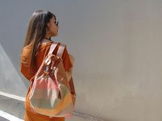 AERAS ,handmade versatile  backpack in striped canvas-suede ,made to order