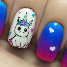 19 Trendy Nails Art Unicorn Nail Art The initial utilize of prototype make-up is generally Trendy Nail Art, Cute Nail Art, Cute Nails, Diy Unicorn, Unicorn Nail Art, Nails For Kids, Girls Nails, Unicorn Nails Designs, Nailart
