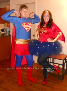 Coolest Homemade Superman and Wonder Woman Couples Halloween Costume  sc 1 st  Pinterest & Superhero costumes - The family that saves together stays together ...