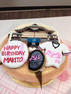 銭湯、野球、桜もちの味わいがテーマのケーキ