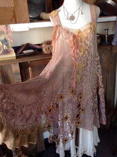 Luv Lucy Crochet Dress Autumn Flowers by LuvLucyArtToWear on Etsy