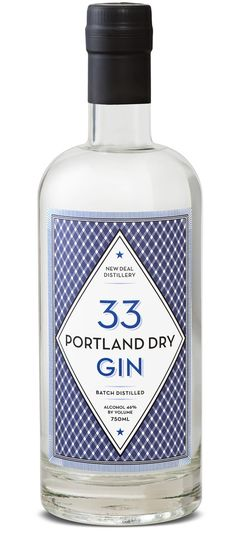 New Deal Portland Dry Gin 33. 46 % ABV. Contemporary. Only uses juniper berries to get its flavor, a remarkable achievement considering the flavors it delivers. On the nose there's a hint of honey with distinct lemon-lime notes paired with fresh evergreen. On the entry the gin expands to a wide flavor of sweet pine with citrus undertones and cool mint.