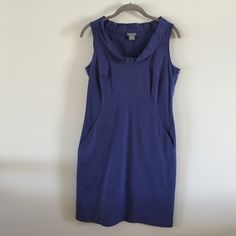 Ann Taylor Cotton Dress Beautiful blue color - cross between navy and royal blues. Fun cowl-like neckline. Worn several times but still in great shape. 96% cotton/4% spandex. Ann Taylor Dresses Midi