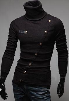 Stylish Turtleneck Solid Color Slimming Metal Button Embellished Long Sleeves T-Shirt For Men
