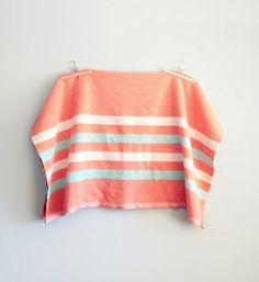 Vintage Salmon Pink Wool Stripe Blanket | Caprock Vintage Shop Etsy