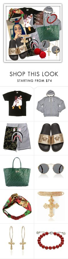 """Casual"" by theonlydej ❤ liked on Polyvore featuring Versace, Goyard, Prada, Gucci, GREEN, bape and goyard"