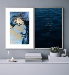 Blue Bedroom Walls, Blue Bedroom Decor, Bedroom Artwork, Office Artwork, Bedroom Ideas, Blue Feature Wall Living Room, Blue And Pink Living Room, Living Room Colors, Midnight Blue Bedroom