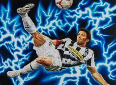 Alessandro Del Piero, Juventus F.C. - Artwork by artist Andrea Del Pesco Oil painting on canvas, size cm. 110x80