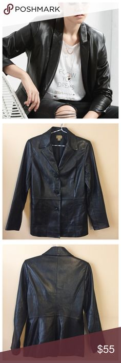 """Caslon Nordstrom Black Leather Blazer Jacket - XS Caslon Nordstrom Black Leather Blazer Jacket --- size XS --- excellent preloved condition, no signs of wear, like new --- beautiful black leather Blazer from the Caslon line at Nordies --- 18"""" bust --- 27"""" length --- 16.5"""" sleeve inseam --- 3 button closure --- genuine lamb skin leather --- first picture is """"get the look"""", not actual Blazer for sale ---  thank you for visiting my boutique, please feel free to ask any questions  Caslon Jackets…"""
