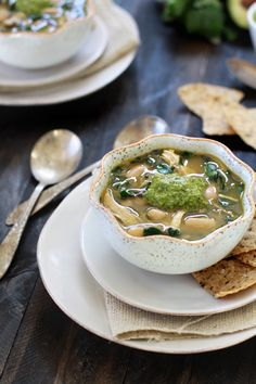 Chicken and White Bean Chile Verde with Cilantro-Lime Pesto...tomatillos, poblano chiles, swiss chard, cannellini beans...