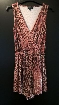 ad6b58e26c1 TOPSHOP RED CRIMSON LEOPARD ANIMAL CUT OUT BACK SOFT PLAYSUIT - SIZE 8   fashion