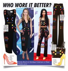 """""""Who Wore It Better?Emily Blunt or Zendaya Coleman in Peter Pilotto print"""" by kusja ❤ liked on Polyvore"""