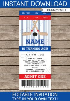Hockey Ticket Invitations