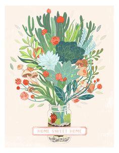 Succulents, mushrooms and plants coming out of a mason jar terrarium -- Little Terrarium Fine Art Print