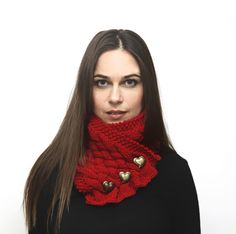 Knit Scarf, Red Scarf, Neck Warmer, Cowl, Knitted Wool Shawl/ Women Fashion, Knitting Accessories by Solandia. Heartshaped, Christmas gift on Etsy, $38.00