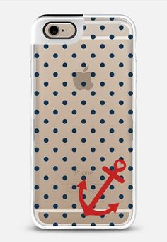 Classic Nautical Polka Dot Transparent iPhone 6 Metaluxe case by Organic Saturation | Casetify
