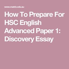 HSC English (Standard and Advanced) Paper 1 standards materials