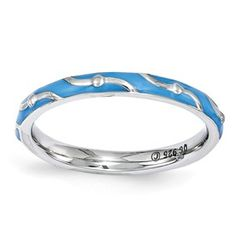 Stackable Expressions Sterling Silver Blue Enamel Ring