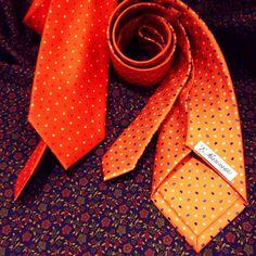Orange 5 folds ties on our 100% silk scarf