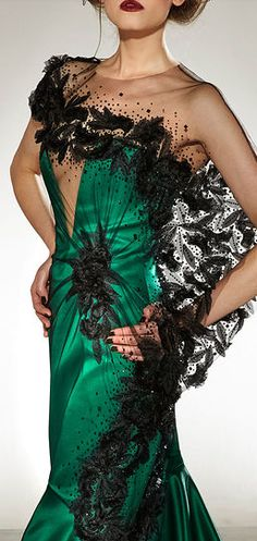 Georges Chakra EMERALD GREEN DRESS WITH BLACK LACE DETAIL.